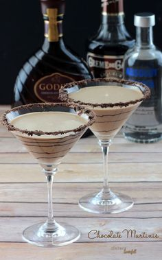 Chocolate Martinis - Godiva Chocolate Liquor, Vodka, and Creme de Cocoa with a touch of cream. from #DietersDownfall.com