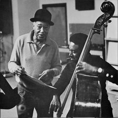 """Jazz Musicians: Duke Ellington and Ray Brown in the RCA Studios for their """"This One's for Blanton"""" Pablo album Jazz Artists, Jazz Musicians, Music Artists, Duke Ellington, Cool Jazz, Jazz Band, Latest World News, Jazz Blues, Music"""