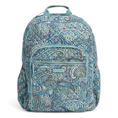 Brand: Vera BradleyColor: Daisy Dot PaisleyFeatures: STYLISH, LIGHTWEIGHT & SIZED RIGHT: The Iconic Campus Backpack measures inches high, 12 inches wide, and inches in diameter with a inch top handle drop and 32 inch adjustable. Little Italy, Vera Bradley Purses, Vera Bradley Backpack, New Handbags, Purses And Handbags, Gucci Purses, Paisley, Travel Chic, Summer School Outfits