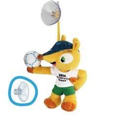 "5"" 13CM FIFA Official 2014 Brazil World Cup Mascot Fuleco Plush Toy Hold Ball  