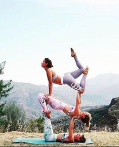 "Tower of Power Tuesday. ""Strong women stand together when things are rough, hold each other up when they… Acro Yoga Poses, Partner Yoga Poses, Three Person Yoga Poses, Physical Fitness, Yoga Fitness, Pilates, Yoga Pictures, Yoga Positions, Yoga For Flexibility"