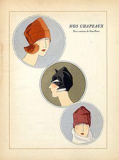 Jean Patou 1926 Fashion Illustration Hats, Pochoir
