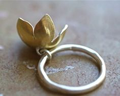 A sweet blooming bell flower charm ring for your finger. This flower is made in sterling silver with a fused 23kt gold leaf finish on the exterior,