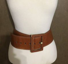 Vintage Wide Brown Leather Belt With big Buckle for Medium