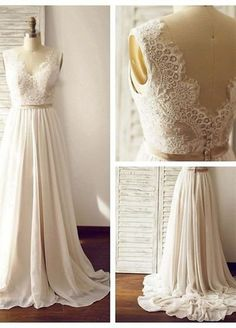 Charming Backless, Long, Chiffon, Prom dresses, white, V-neck