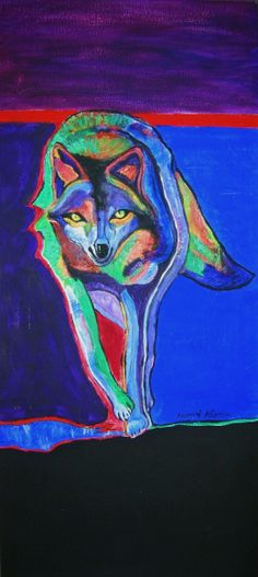 "painted by Andrzej Kapela, acrylic; based on ""Alpha Male Wolf"" by John Nieto"
