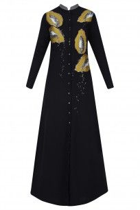 Black Embroidered Papaya Motifs Long Shirt Dress #ShahinMannan #PPUS #ShopNow #HappyShopping Salwar Kameez, Designer Wear, Designer Dresses, Dresser, Eastern Dresses, Latest Designer Sarees, Pernia Pop Up Shop, Mode Hijab, Kurtis