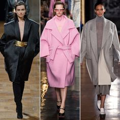 Bigger Is Better : Oversize proportions gave coats a bold look, even in the soft pastels and muted neutrals we saw at Carven and Stella McCartney, respectively. The look is a borrowed-from-the-boys spin with extralong sleeves and ample room for layering. In any iteration, it's clear bigger is better when it comes to our Fall '13 coats.  From left: Balmain, Carven, Stella McCartney