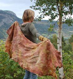 Nunofelt felted  scarf  wool and silk      'Autumn' by IngerMaaike, kr920.00