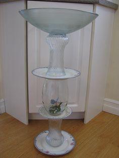 Bloomin' Bird Bath Patio, Bird, Lighting, Tableware, Glass, Garden, Home Decor, Homemade Home Decor, Yard