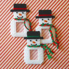 RESERVED for Sandy! Plastic Canvas: Christmas Frames Magnets (set of 9 -- 3 snowmen, 3 stockings and 3 trees) Christmas Frames, Christmas Projects, Christmas Ornaments, Christmas Tree, Plastic Canvas Ornaments, Plastic Canvas Crafts, Plastic Canvas Stitches, Plastic Canvas Patterns, Plastic Canvas Christmas