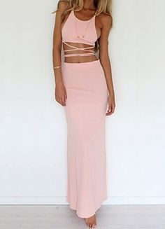Pink Spaghetti Strap Bandage Top With Skirt 18.00