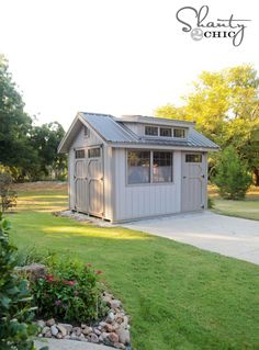 "Wood-Tex Products Shed  http://www.woodtex.com http://www.shanty-2-chic.com/2013/09/storage-shed.html   Shed Size: 10 x 12 Shed Style: Garden Shed  Standard Options:    A-Frame Roof, 10"" Overhang   6' 6"" Sidewalls   Double Door with Transom Windows   2 30""x36"" Windows   Window Trim   1x6 Fascia  Additional Options:    Metal Roof   Extra Door w/Transom on End   Dormer   Diamond plate on both doorways   Rounded wood table vents"