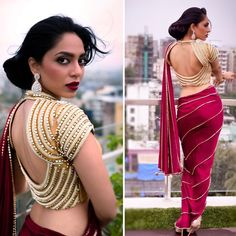 Top Latest & Trendy Designs Oct, In Pic: All Beaded blouse With A Bold Cut Out Back Flashy gold beaded blouse with an alluring cut-out pattern at the back. Pair it with a saree and slay like a diva that you are. Indian Blouse Fashion via Blouse Back Neck Designs, New Blouse Designs, Bridal Blouse Designs, Saree Blouse Designs, Choli Designs, Lehriya Saree, Dhoti Saree, Silk Sarees, Lehenga