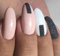 Nude white and black glitter nails
