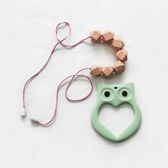 "BayBay Beads- Silicone Teething Necklace for Mom to Wear & Baby to Chew ""Playful Peach"" with Bonus Owl Teether - Safe & Non-toxic - Breastfeeding Mums Approve BayBay Beads"