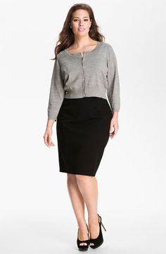Donna Ricco Crystal Button Metallic Cardigan (Plus) available at Nordstrom - THIS IS PERFECT!!!