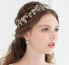 Boho Ivory Freshwater Pearl Halo headpiece by BewitchingLace