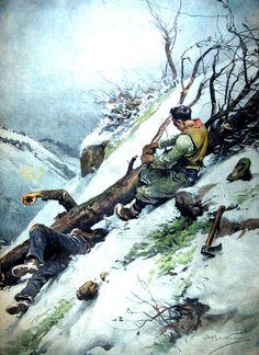 """La Domenica del Corriere Anno XXXX n.2 9 Gennaio 1938 - XVI - (ultima pagina) """"Due agricoltori dell'Appennino parmense, padre e figlio, erano intenti ad abbattere una grossa pianta di faggio quando il tronco ha ceduto improvvisamente, ha travolto i due uomini e li ha trascinati in un ripido canalone. Il padre è morto sul colpo, e il figlio è stato gravemente ferito."""""""