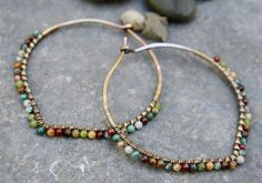 Oxidized Bronze Hoops Desert Calico  2 inch hoops Bronze