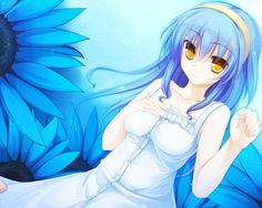 1280x1024 Wallpaper anime, girl, creature, flowers, blue