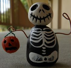 Skelly and his Pumpkin by TwoBlueRavens on Etsy, $15.00