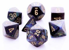 Keep 'em rolling with Lustrous Dice (Shadow). This RPG dice set has all your favorites: d4, d6, d8, d10, d%, d12, and d20. Each Lustrous die is a magical blend of purple, blue, and green color and is