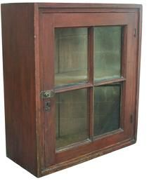 """X387 Early 19th century Washington Co. Pennslyvania  single door Hanging Wall Cupboard, with original paint, mortised and peg door, pine case has a door with four window lights  old wavie glass , with spring catch and lock and,, butt hinges, the interior has a single shelf 28 1/2"""" high x 24"""" wide x 11"""" deep - from Country Treasures"""