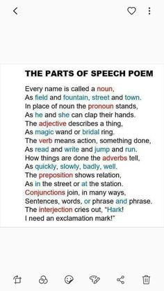 Parts of speech poem english vocabulary, english grammar, teaching english, parts of speech Teaching Grammar, Teaching Writing, Teaching English, Teaching Kids, Grammar Rules, Spelling Rules, Teaching Tools, English Writing Skills, English Lessons
