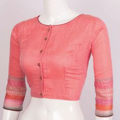 Hand Block Printed Linen Blouse With Full Sleeve 10018865 Size - 38 - AVISHYA.COM