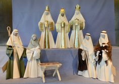 A18Natural (calico). Joseph has green garment and Mary has green headdress.Shepherds with brown shawl and rug $284 NZD