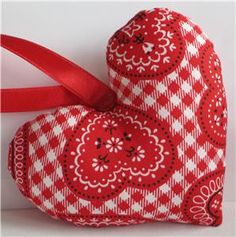 Single Shabby Chic Heart.  Beautiful hand crafted heart from cotton fabric featuring decorated red, white and black hearts tossed on a red and white gingham background.