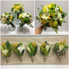 Bride & Bridesmaids bouquets Groom & Groomsmen button holes Fresh green, yellow, white tones Including billy buttons, freesias, gum, roses, chrysies, lisianthus, rustic twine, hessian www.bacchusmarshfloristandnursery.com.au www.facebook.com/bacchusmarshflorist  Instagram #bmflorist