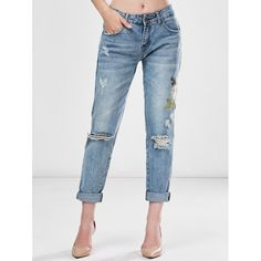 34.87$  Watch now - http://dis2c.justgood.pw/go.php?t=206503802 - Light Wash Embroidered Ripped Jeans 34.87$
