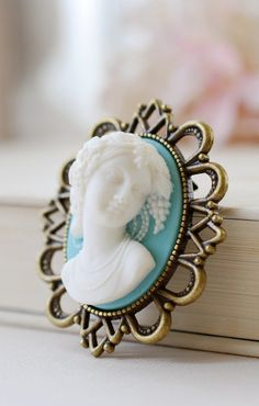 Large Cameo Brooch. Vintage Inspired Blue