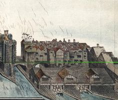 Part of Old London Bridge, c1600. Part of the bridge originally built between 1176 and 1209, showing the Middlesex (London) shore with (left) the waterworks built by Peter Morice in 1582 to supply water to the city.