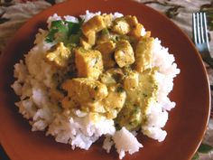 """Basil Chicken in Coconut Curry Sauce. or, if we are conning our children, """"Chicken Soup with Rice"""""""
