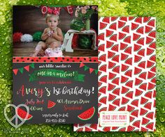 Watermelon Birthday Party Invitation Printable by PeaceLovePrint on Etsy