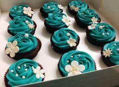 Teal & Chocolate Wedding Cupcakes www.mylushcupcakes.com