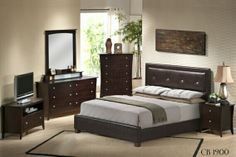"""4 pc Ashley collection Queen espresso finish wood headboard with leather like vinyl tufted design. This set includes the Queen Bed frame set, one nightstand, Dresser and Mirror. Bed measures 86"""" x 64"""" x 48"""" H. Nightstand measures 24"""" x 16"""" x 23"""" H. Dresser measures 60"""" x 18"""" x 32"""" H. Mirror measures 37"""" x 2"""" x 39"""". Some assembly may be required. Optional chest available separately at additional cost and measures 36"""" x 18"""" x 48"""" H. SKU CB1900"""