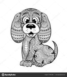 Descargar - Libro de perro anti-stress para colorear para adultos — Ilustración de stock #136513286