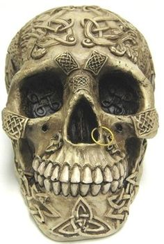 ♡♡♡Celtic Lion Knotwork Human Skull Statue Bone Finish contemporary-sculptures