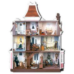 Greenleaf Beacon Hill Dollhouse Kit - 1 Inch Scale - Collector Dollhouse Kits at Hayneedle Dollhouse Kits, Victorian Dollhouse, Dollhouse Miniatures, Pink Dollhouse, Dollhouse Interiors, Dollhouse Design, Victorian Dolls, Miniature Houses, Miniature Dolls
