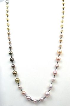 Rose Pearls 60 Sterling Vermeil Beautiful Baroque Pearl Necklace Grey Cultured Pearls Opera Length Pearls Japanese Vintage Necklace