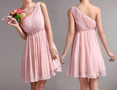 Cheap One Shoulder Chiffon Short Bridesmaid Dresses, Wedding Party Dresses, Prom Dresses, Custom Made Bridesmaid Dress,