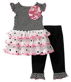 Sweet Heart Rose 1224 Months SmallLargeDot Dress and Solid Leggings Set #Dillards