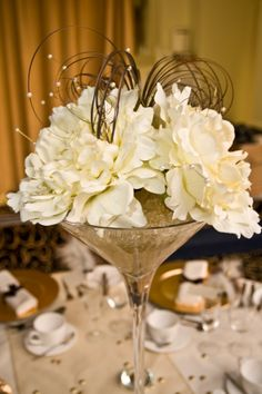 Wedding table centrepiece martini vase  email:info@brideslittlehelper.co.uk