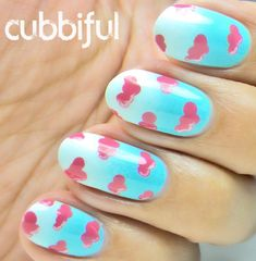 Cotton Candy Clouds Nail Art