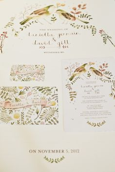 illustrated wedding invitations by Paper Pinwheel // photo by Love Katie + Sarah