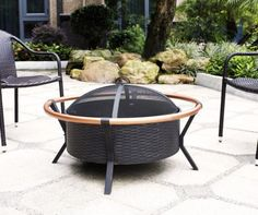 Yuma Copper Ring Firepit in Black - Crosley unique flair to your outdoor gatherings with the Crosley Yuma Outdoor fire pit. Constructed of durable steel, the Yuma features a tough, all-weather powder-coated finish. Its deep bowl design will Copper Fire Pit, Metal Fire Pit, Wood Burning Fire Pit, Small Fire Pit, Round Fire Pit, Fire Pit Furniture, Outdoor Furniture, Outdoor Decor, Outdoor Living